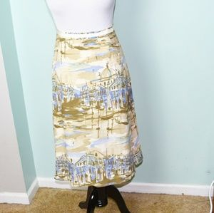 Stunning Tan and Blue Boat Print Skirt